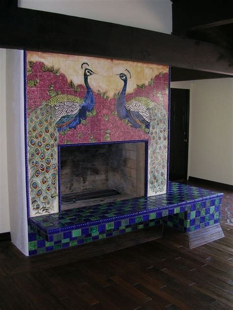 Custom Made Ceramic Tile Peacock Fireplace by The Clay