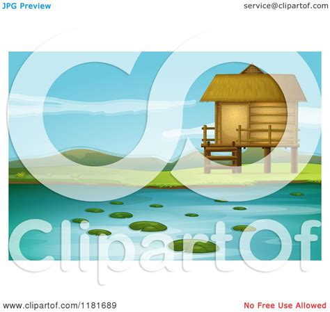 Cartoon of a Lake Front Cabin - Royalty Free Vector