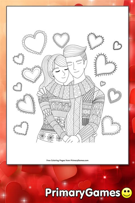 Couple In Love Coloring Page | Printable Valentine's Day